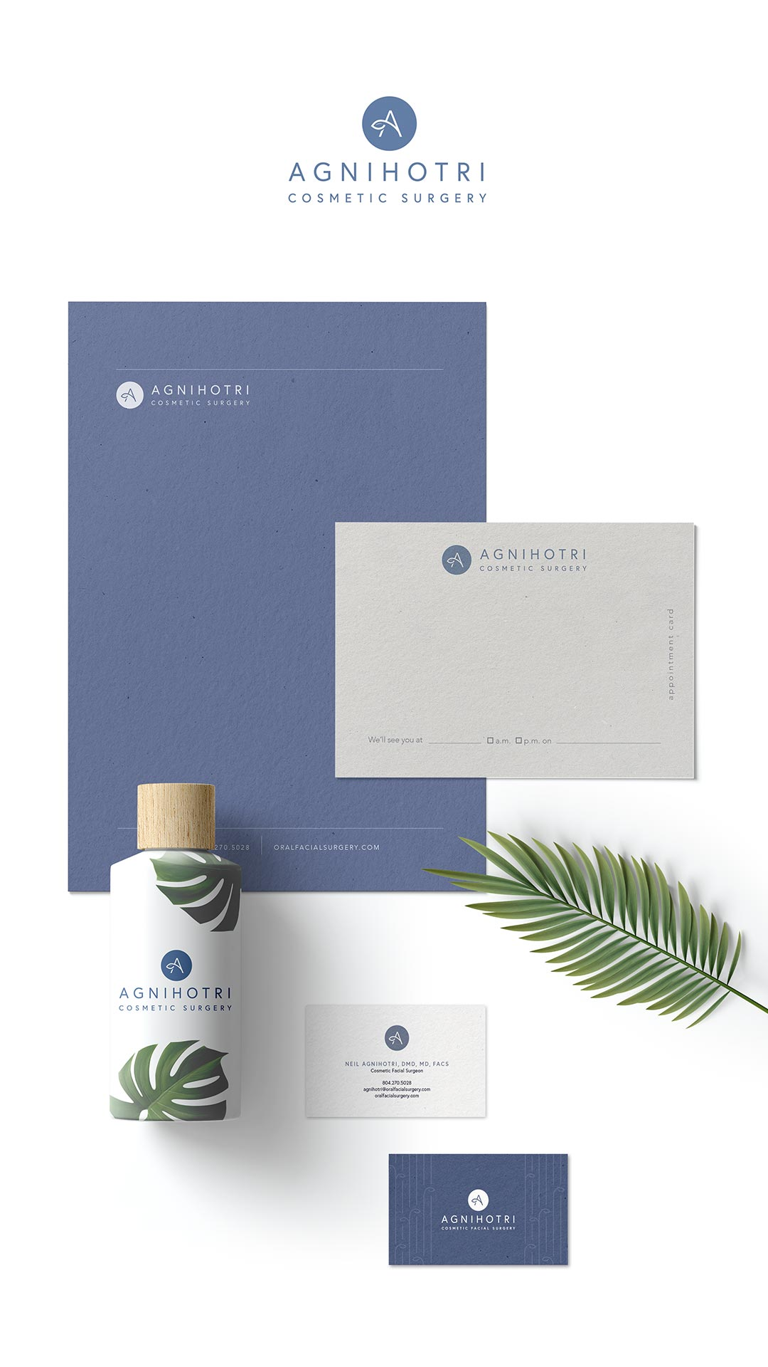 flatlay of Agnihotri Cosmetic Surgery's brand identity system