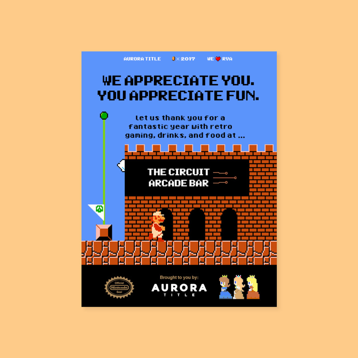 8-bit Mario themed poster for event at The Circuit Arcade Bar