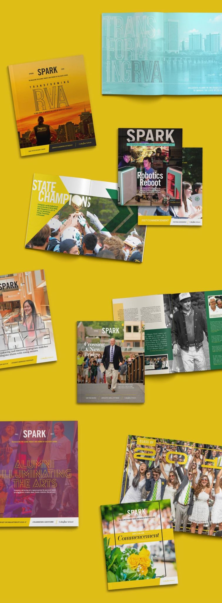 various layouts for Collegiate School's magazine SPARK