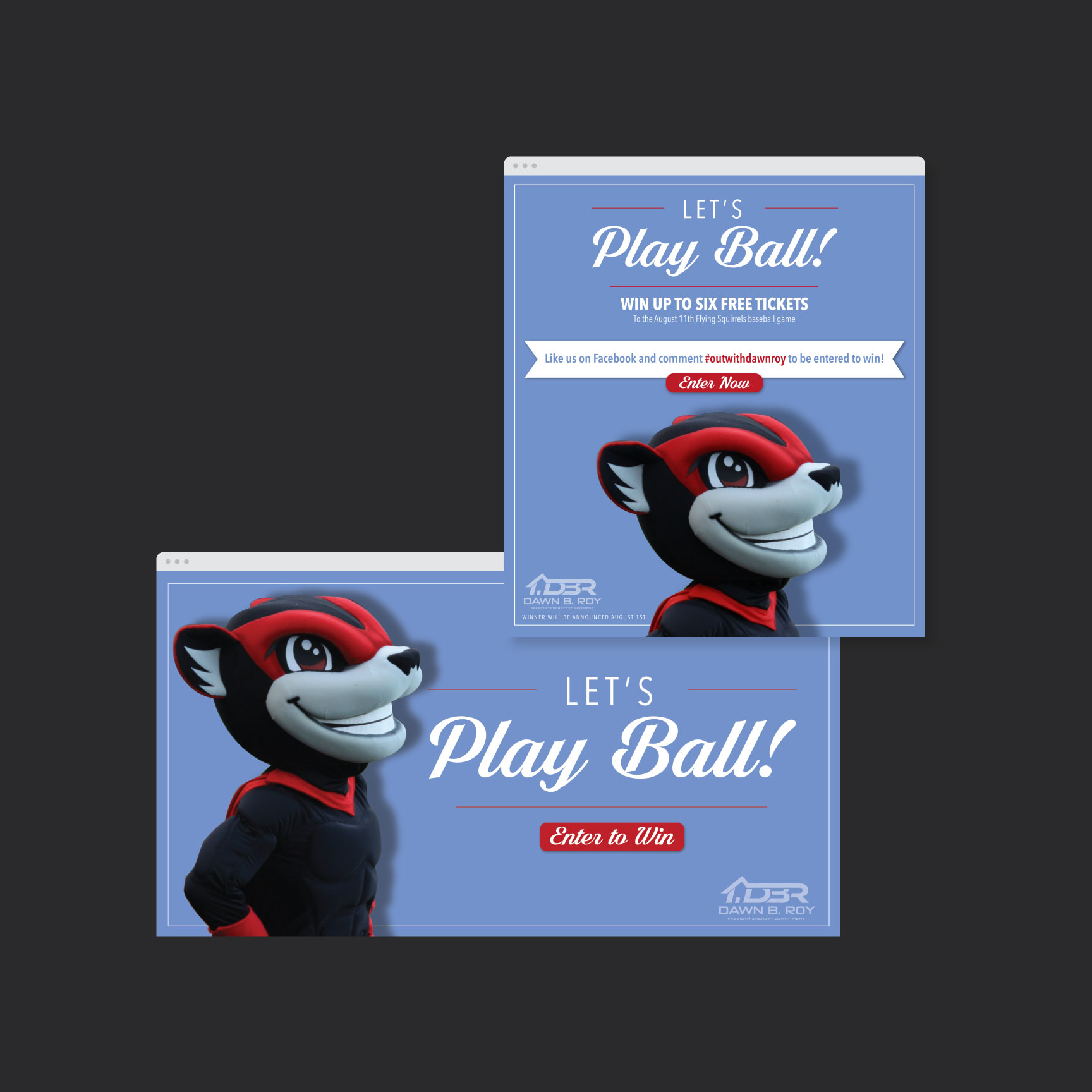 email ads for Dawn Roy showing Richmond Squirrels mascot saying Let's Play Ball