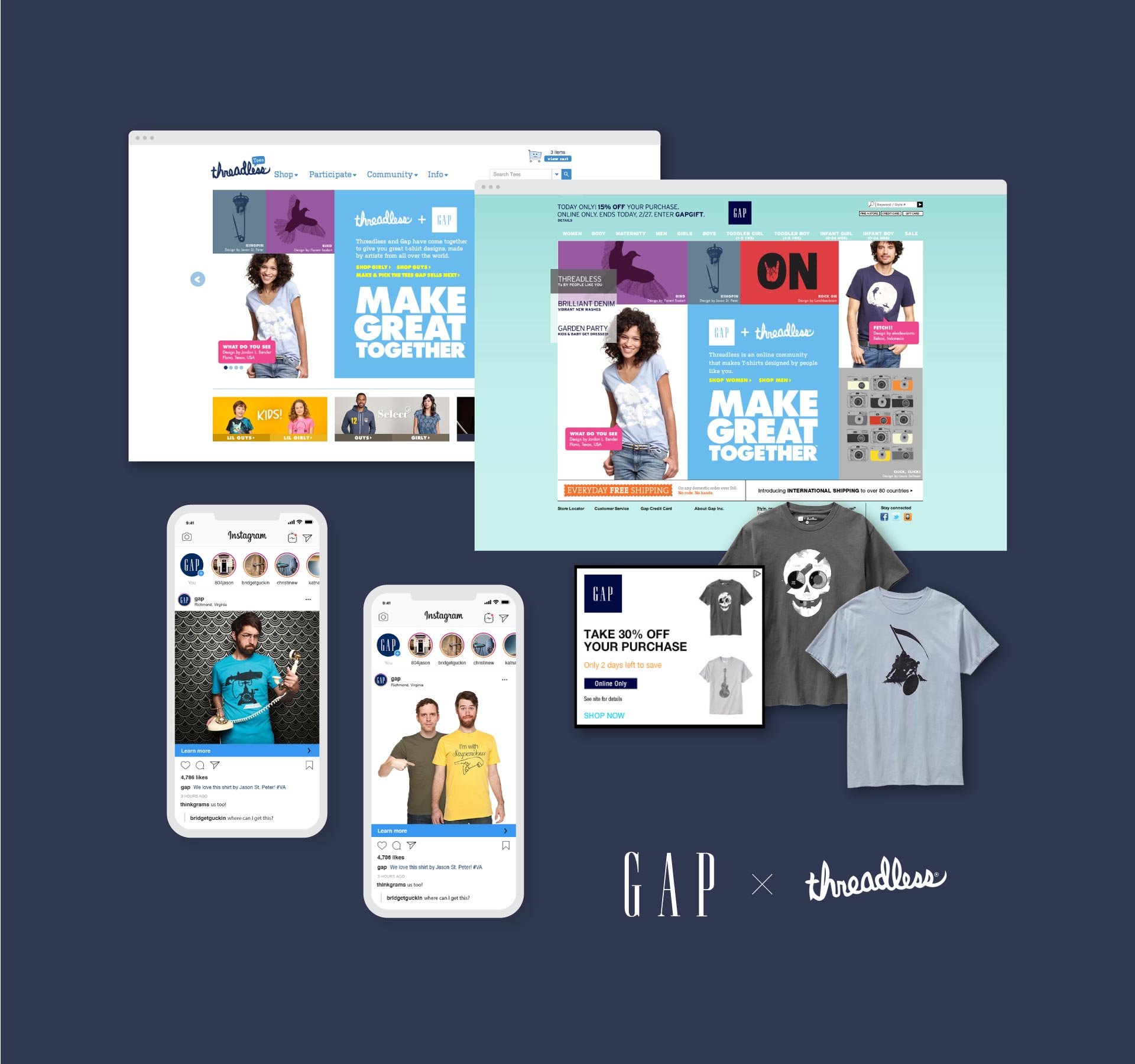collage of gap t-shirts and marketing