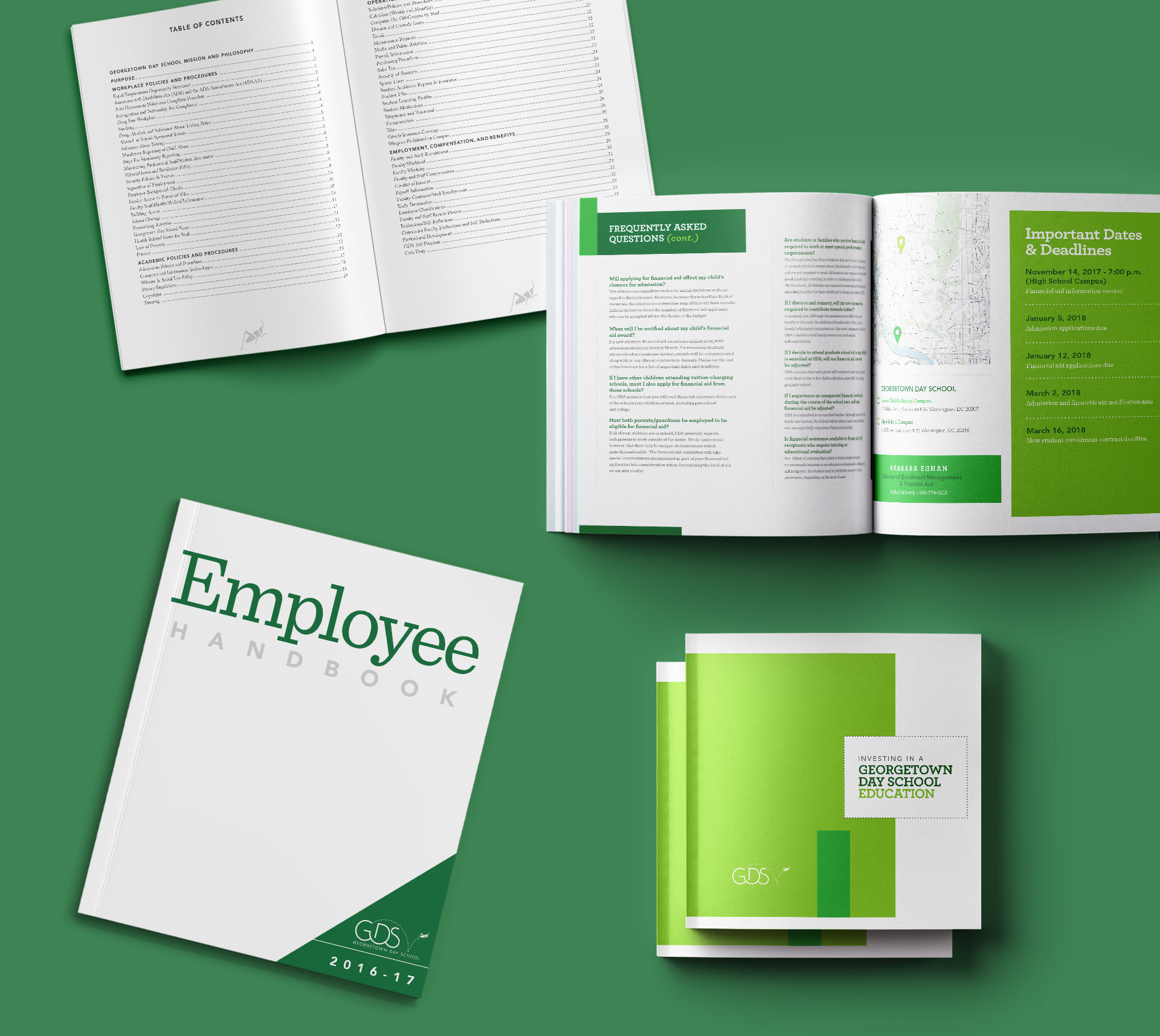 employee handbook cover and interior pages for Georgetown Day School