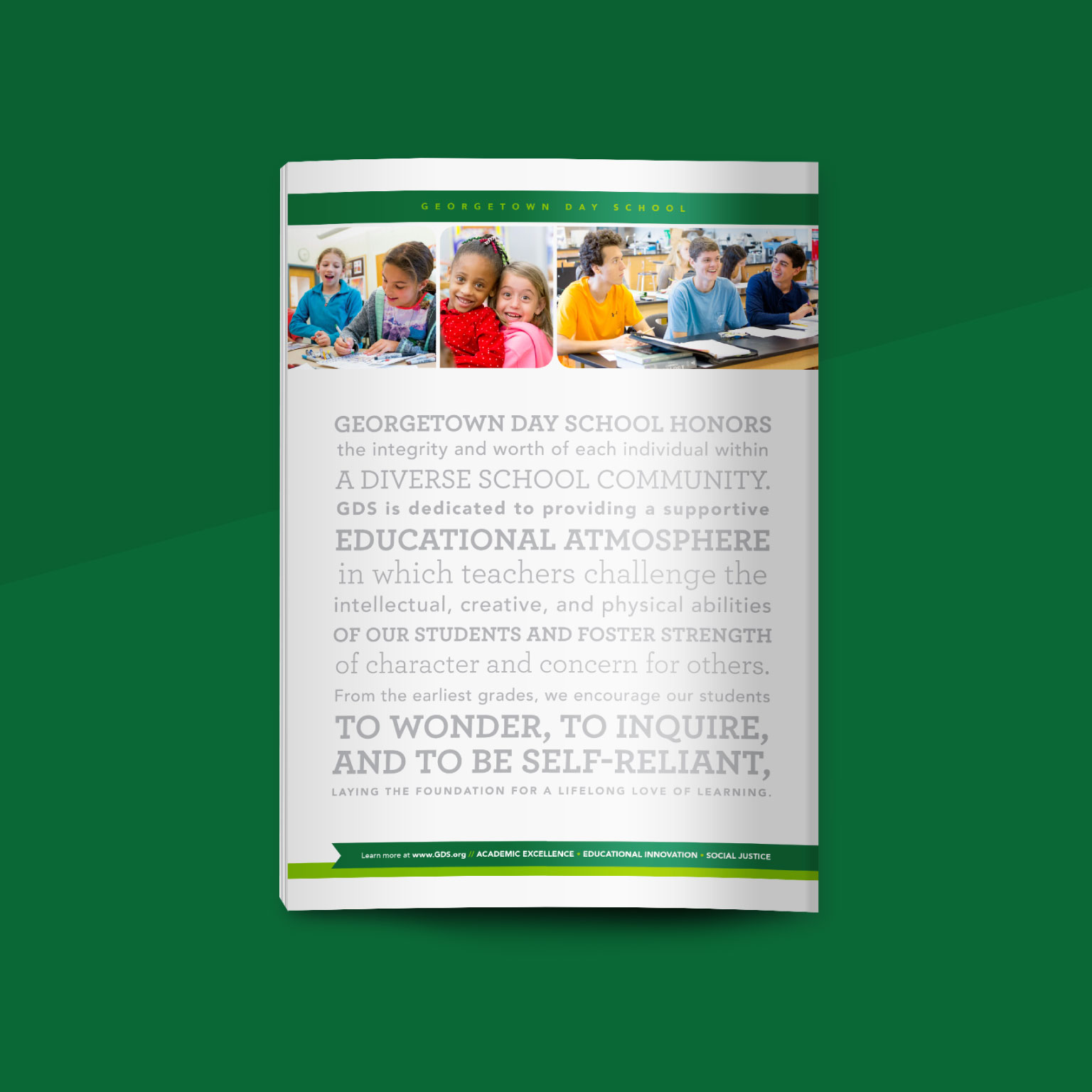 magazine ad for Georgetown Day School showing children in classrooms and the school's mission statement