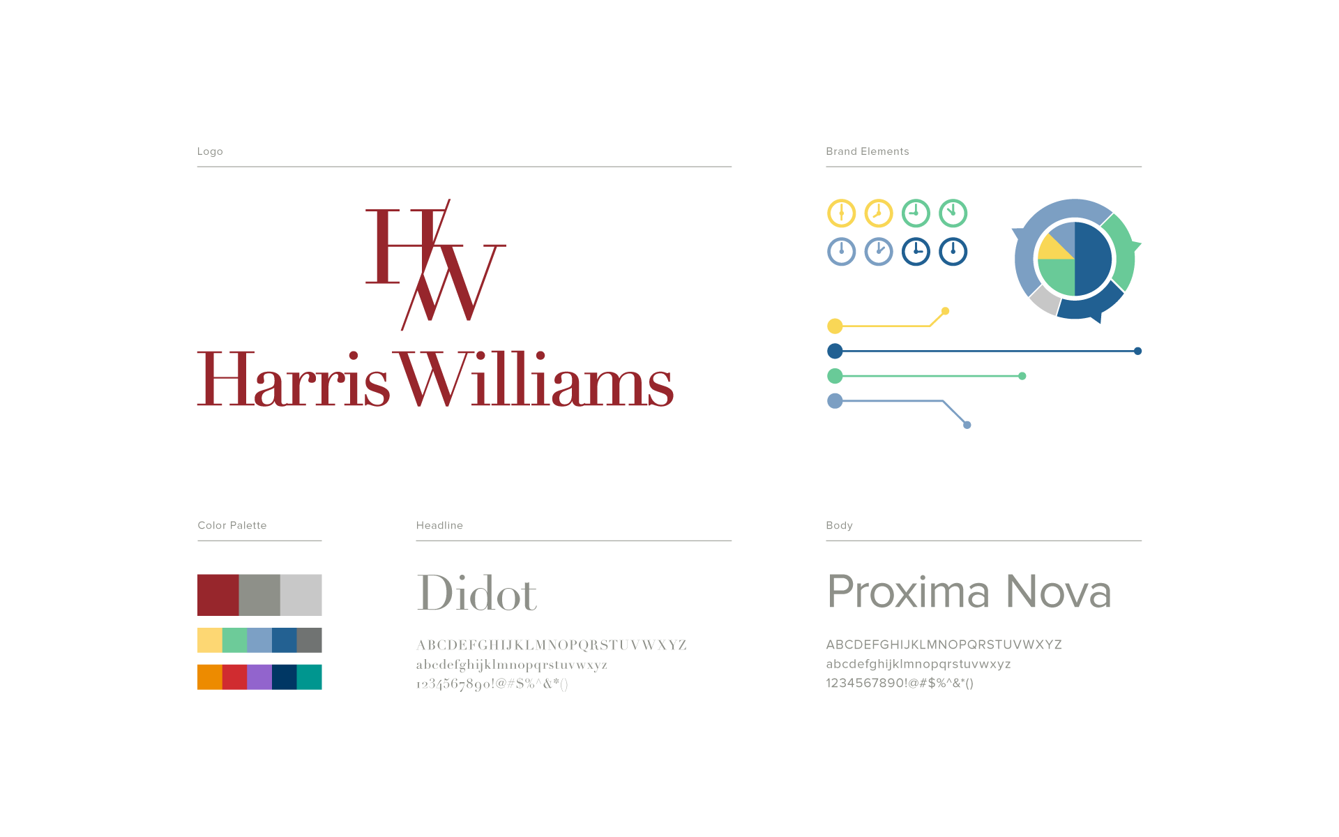 logo, colors and fonts used for Harris Williams branding