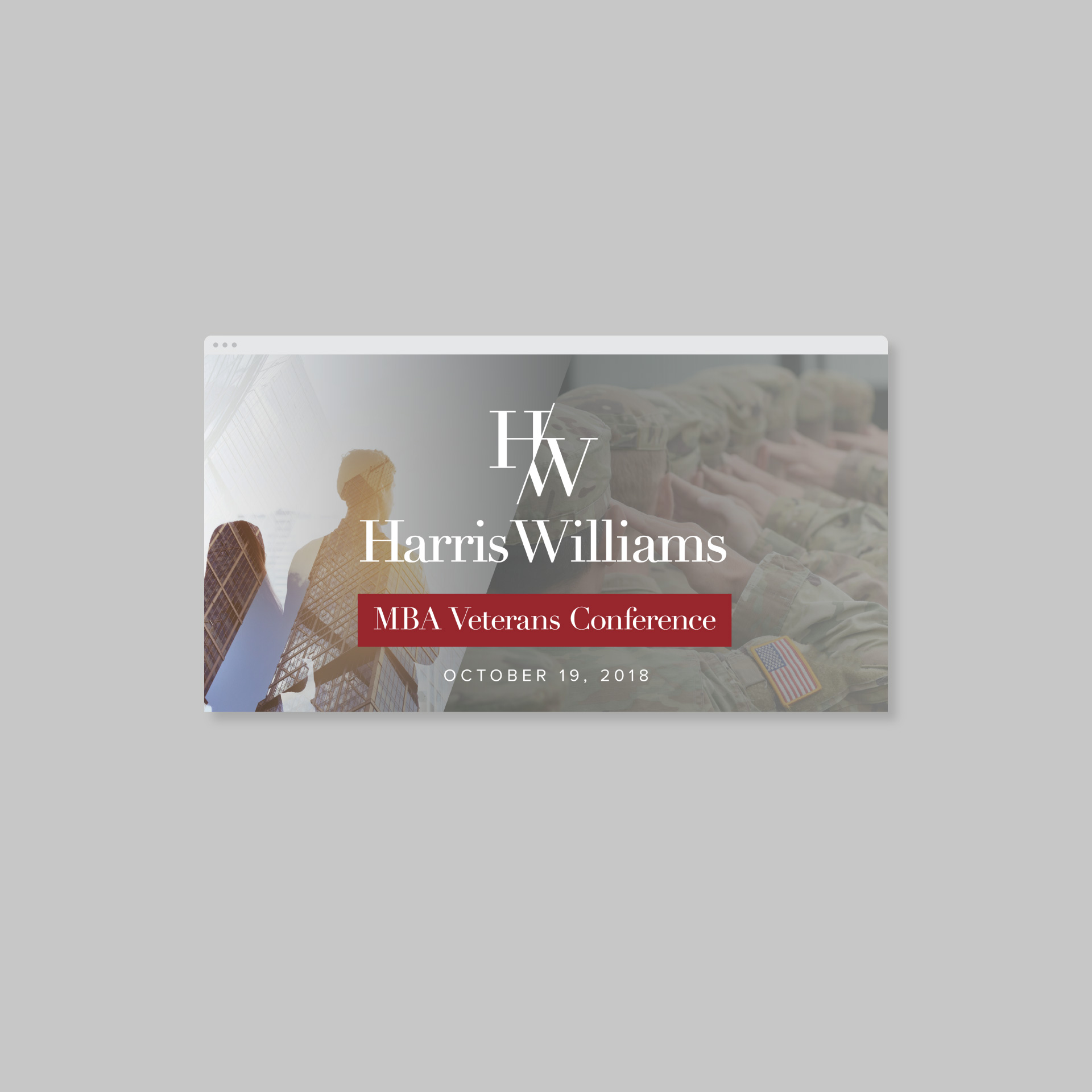 ad for Harris Williams MBA Veterans Conference showing soldiers and businessmen