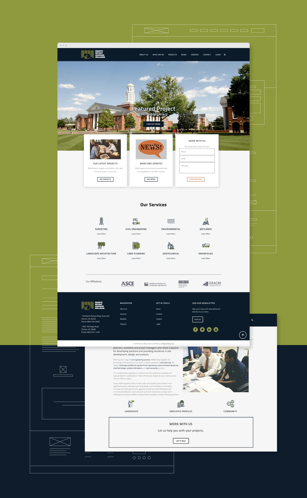 wireframes and website homepage for KBJW
