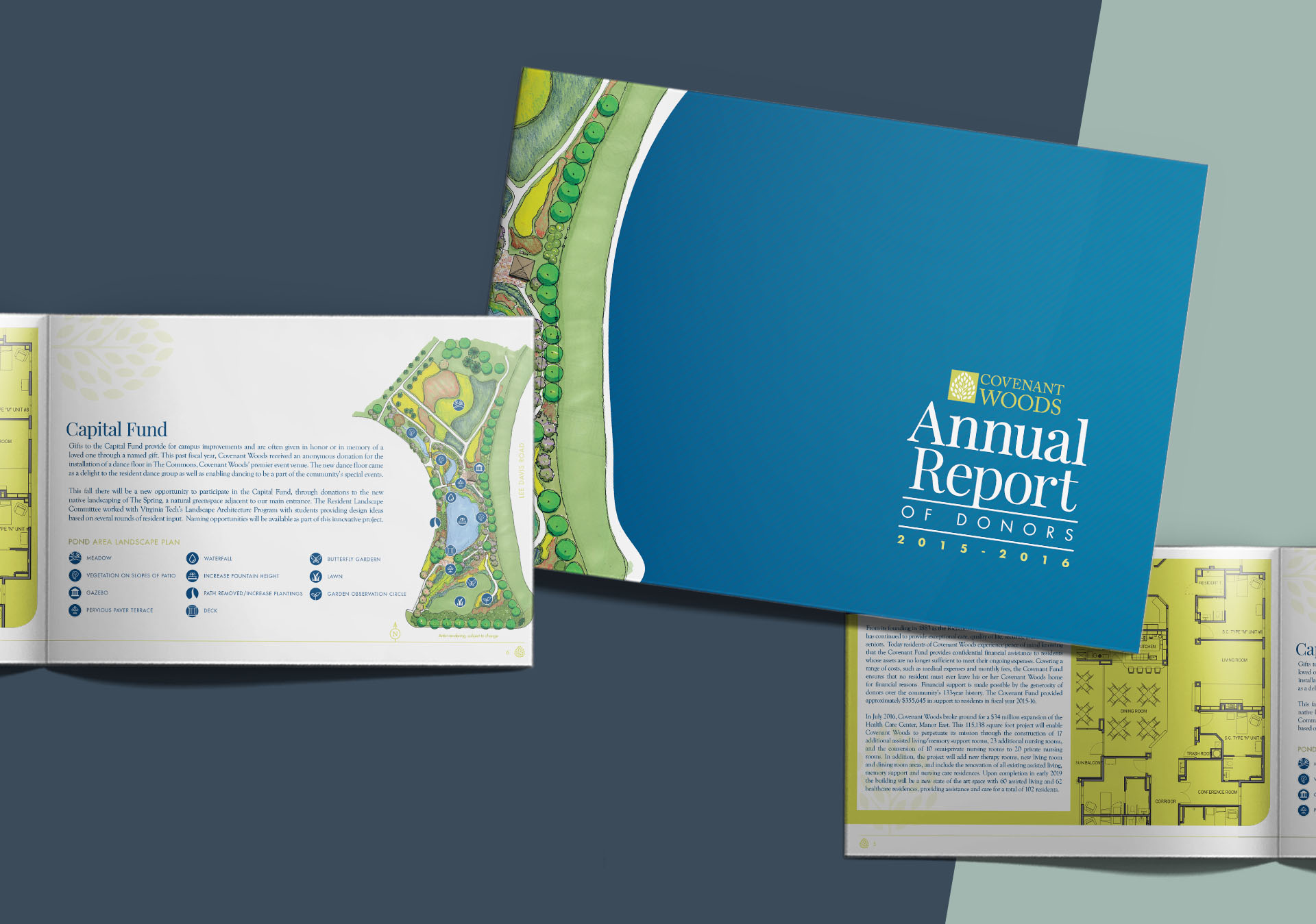 annual report spreads for Covenant Woods