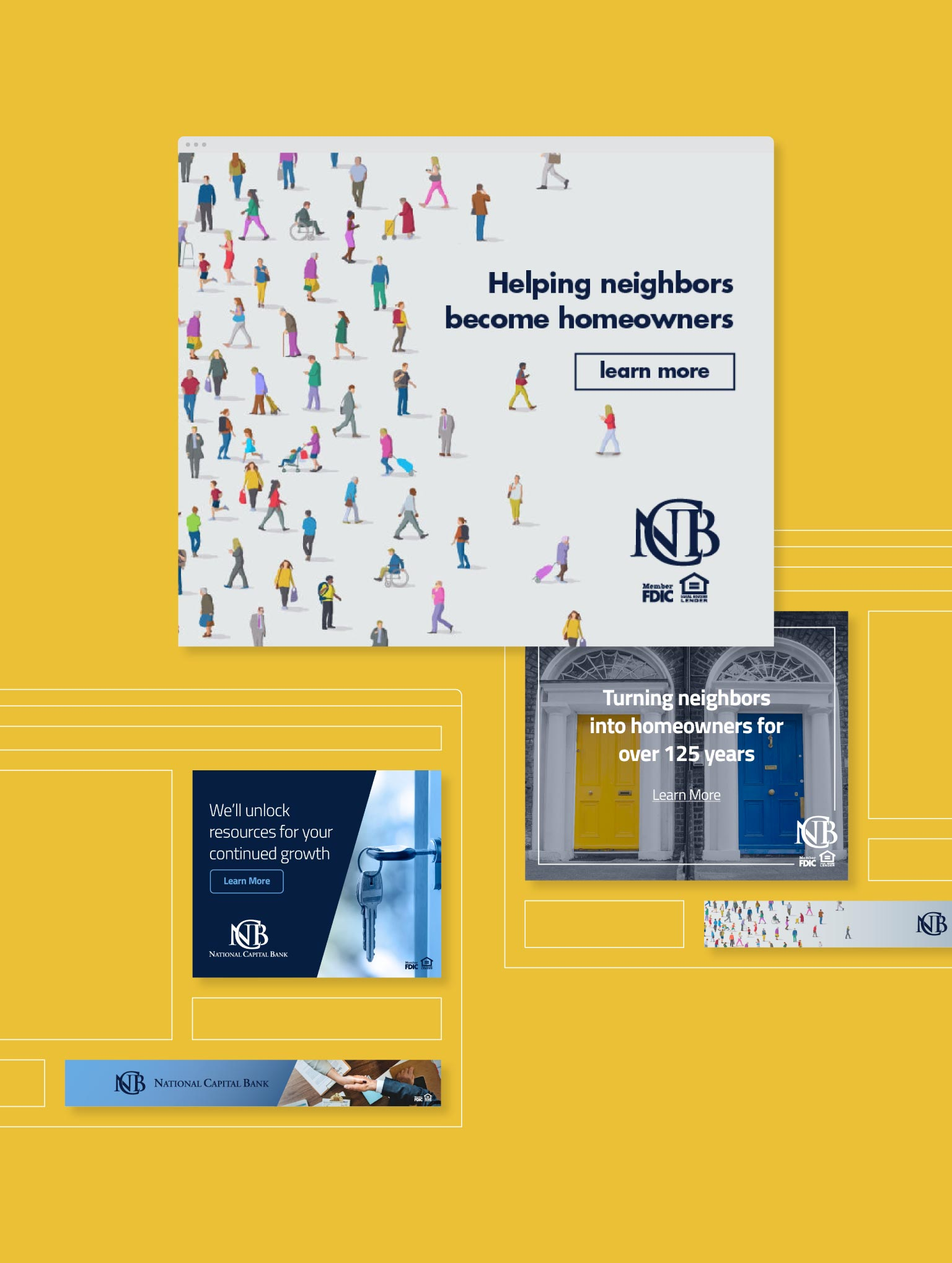 various ad concepts for National Capital Bank on a yellow background