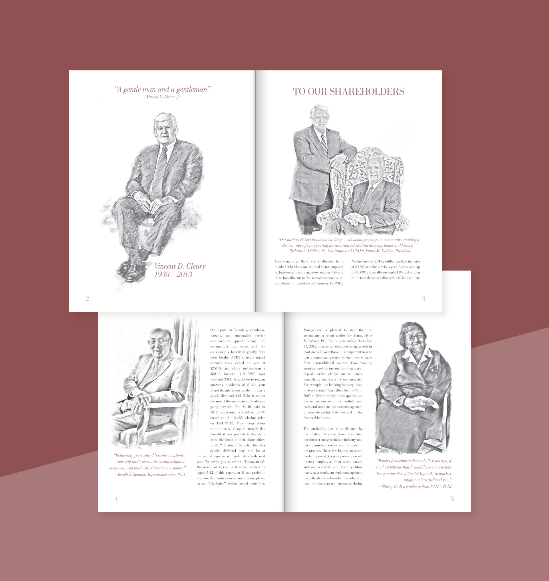 annual report showing sketch illustrations of men and women