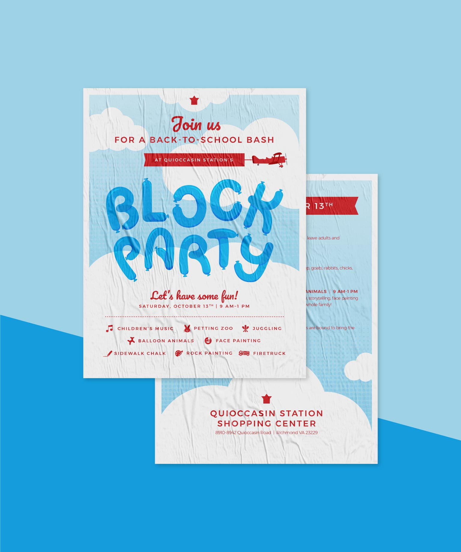 poster design for a back to school block party