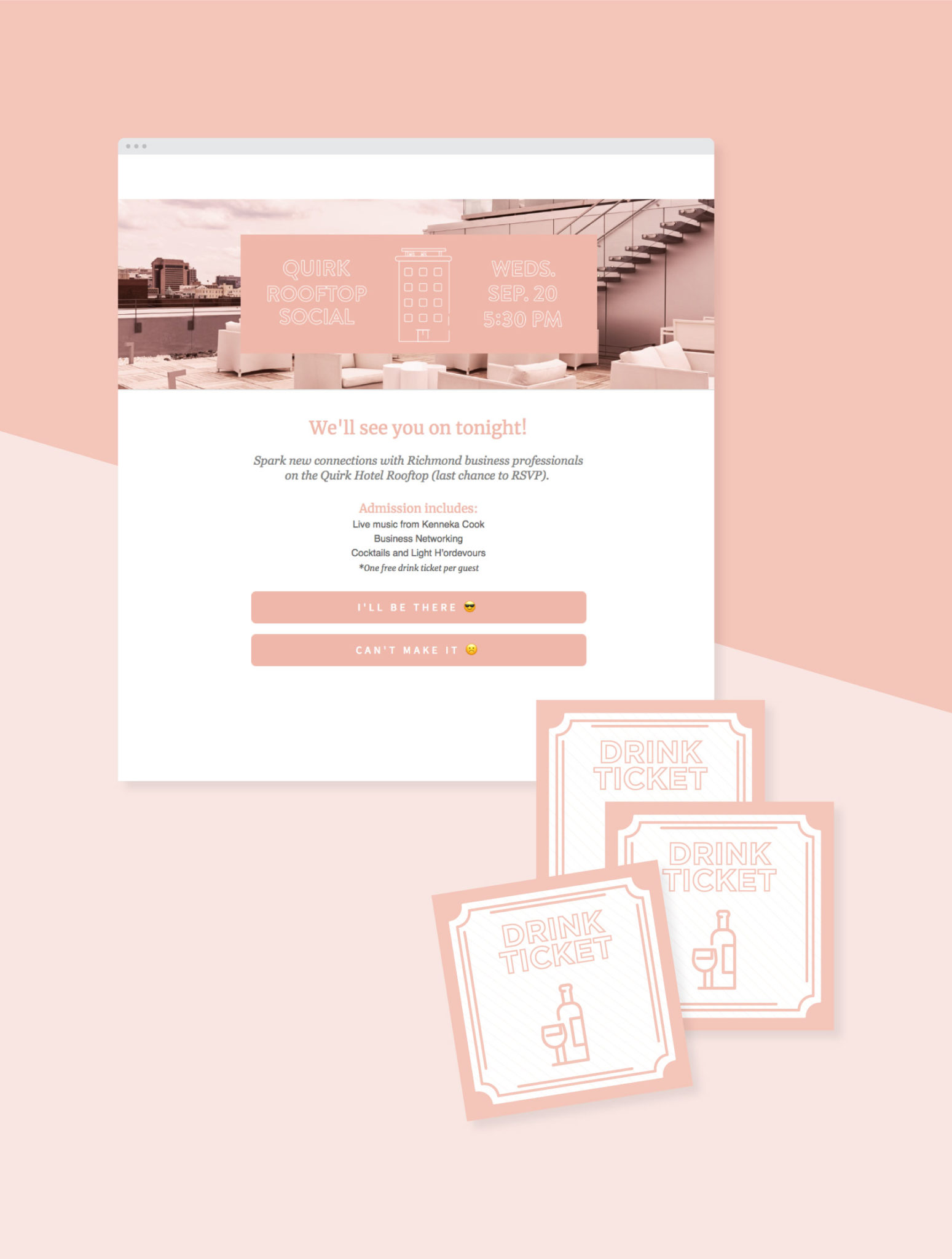 email invitation and drink tickets for Quirk Hotel rooftop event on pink background