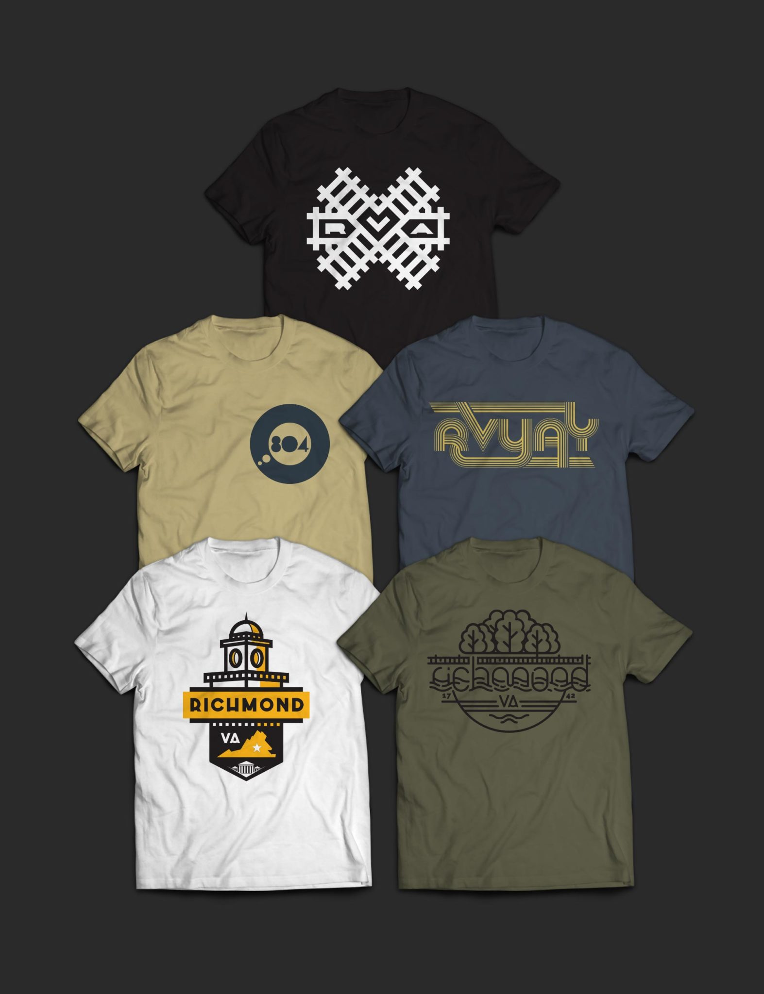 five Richmond themed t-shirts