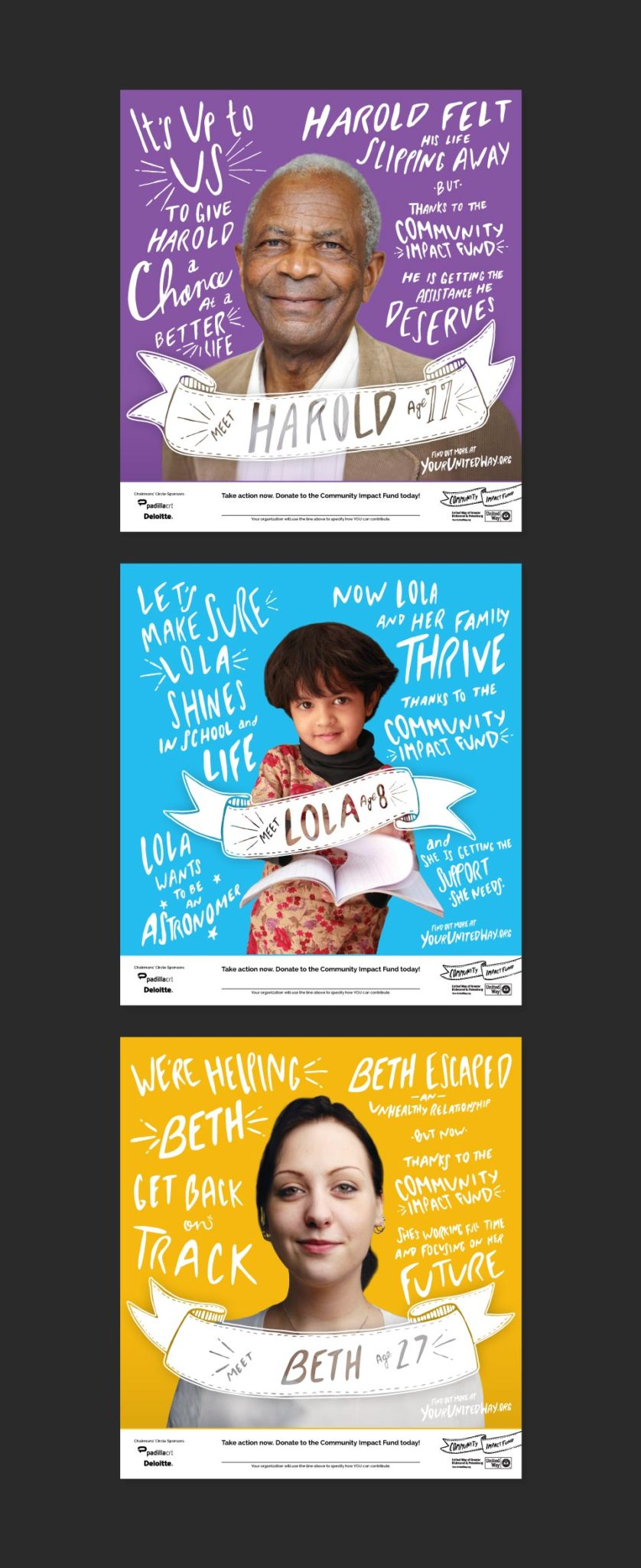 United Way posters showing a person and a handwritten story