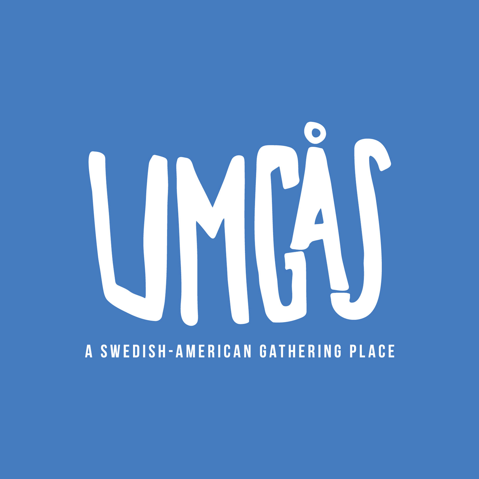 white handlettered UMGAS logo on a blue background