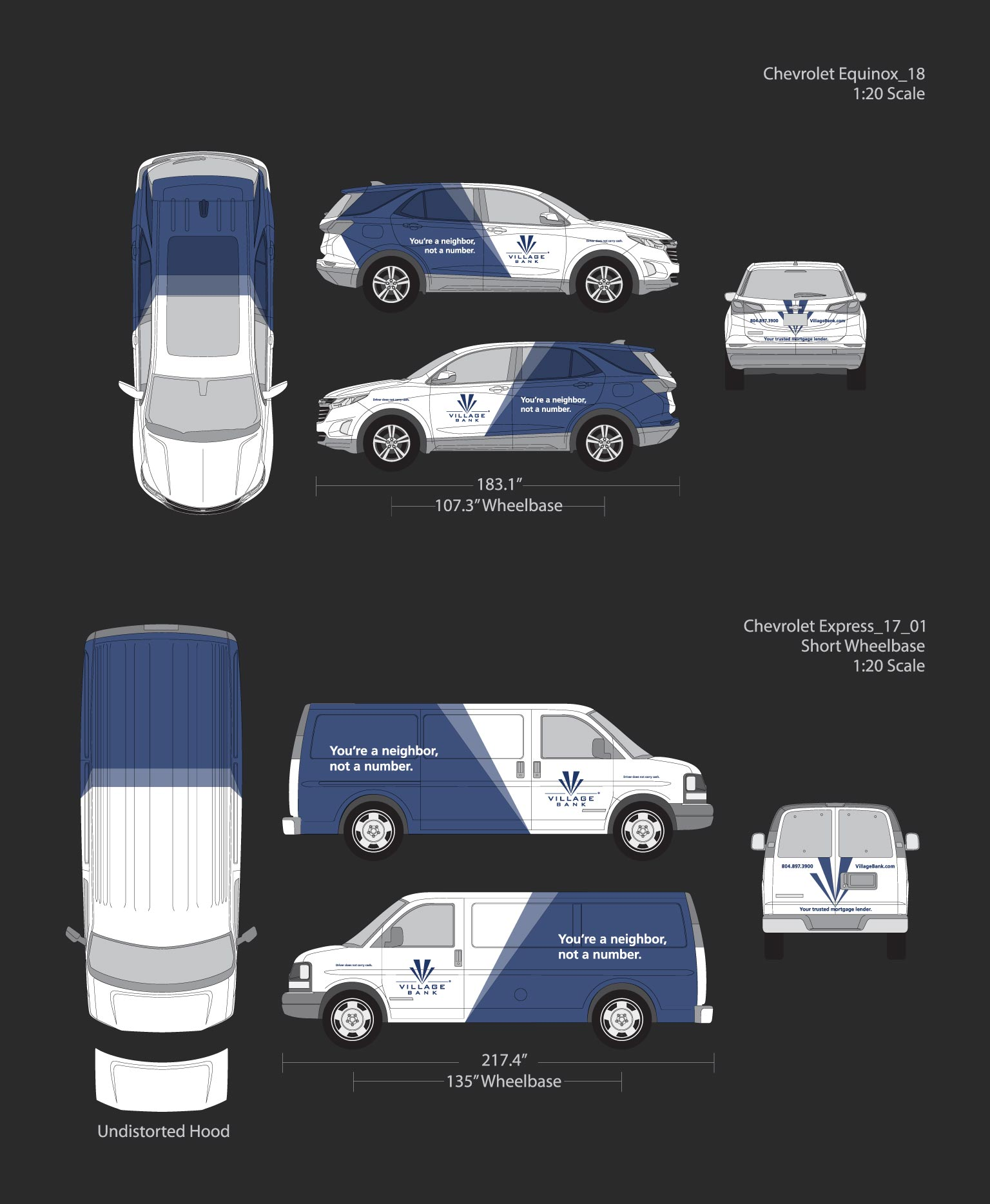 Village Bank vehicle wrap designs and layouts for a two vans