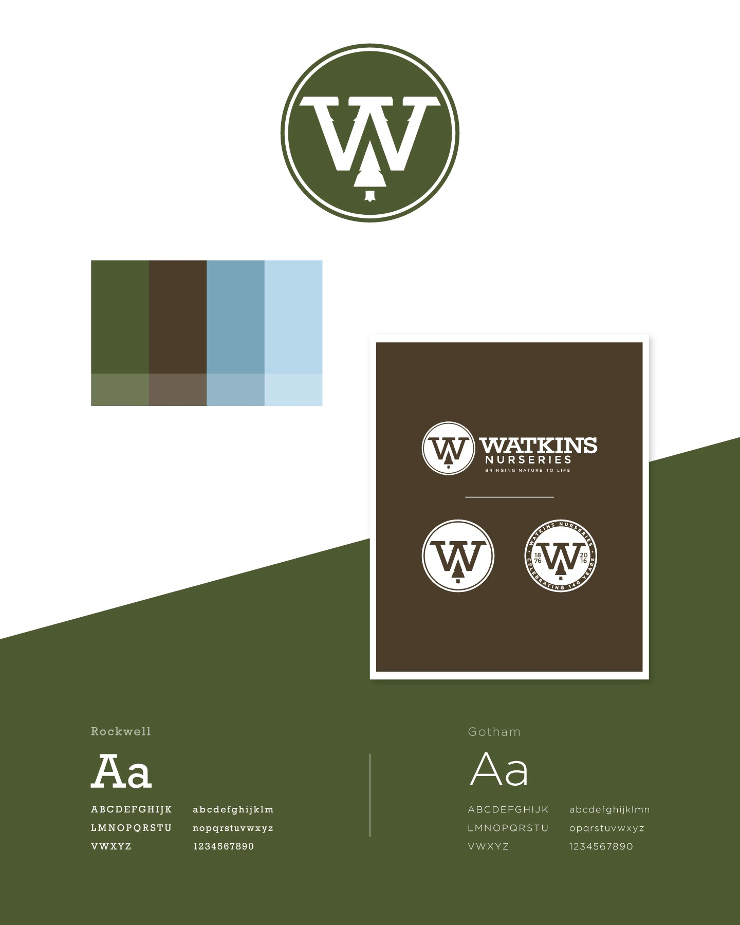 Logo, colors, and fonts for Watkins Nurseries