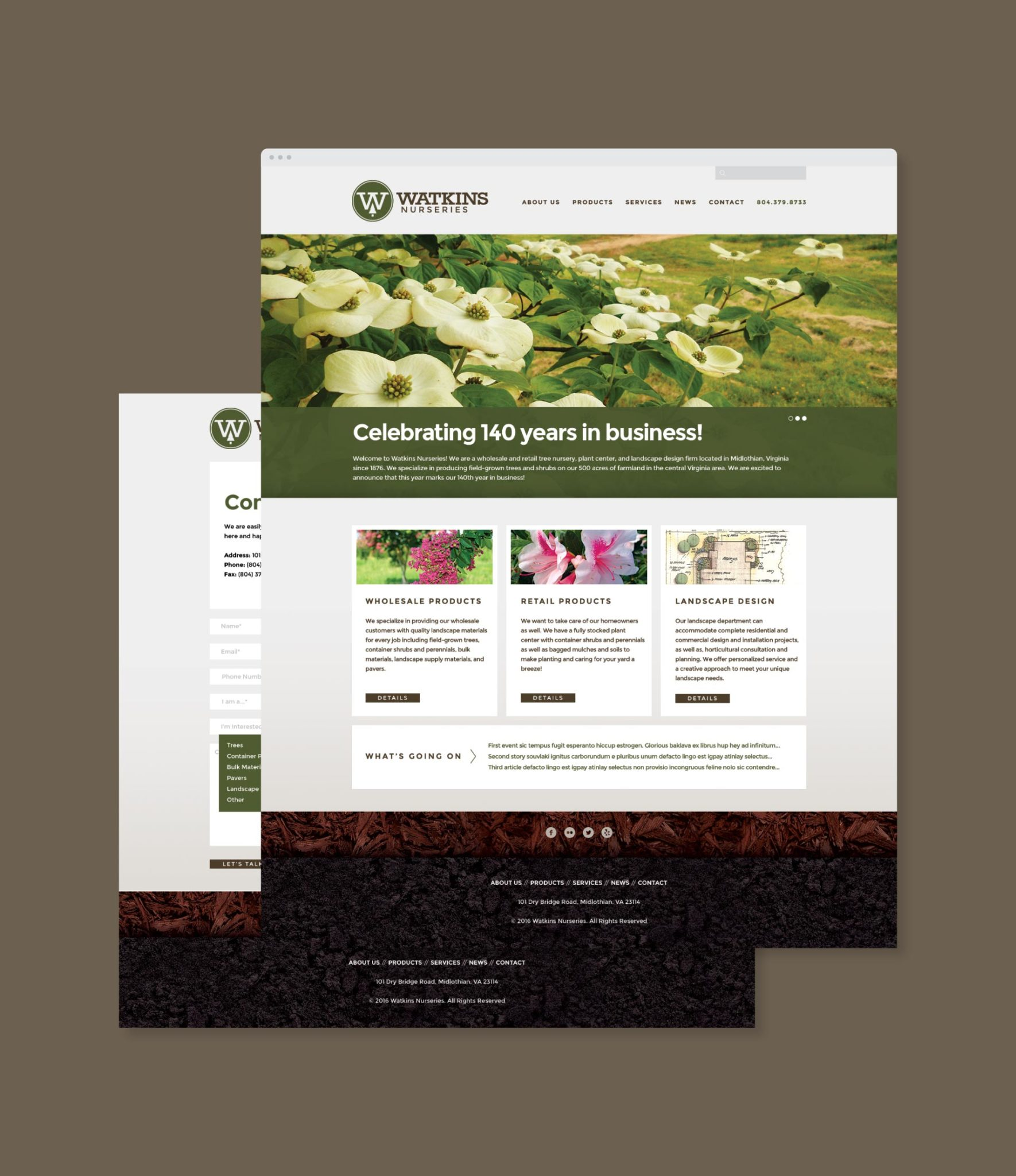 Watkins Nurseries website homepage and contact page
