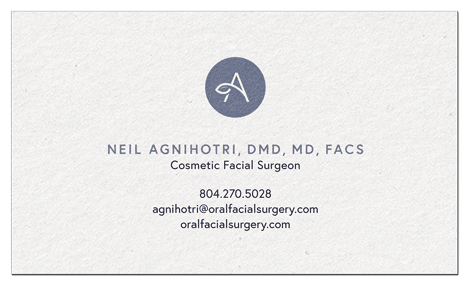 front view of Agnihotri Cosmetic Surgery business card