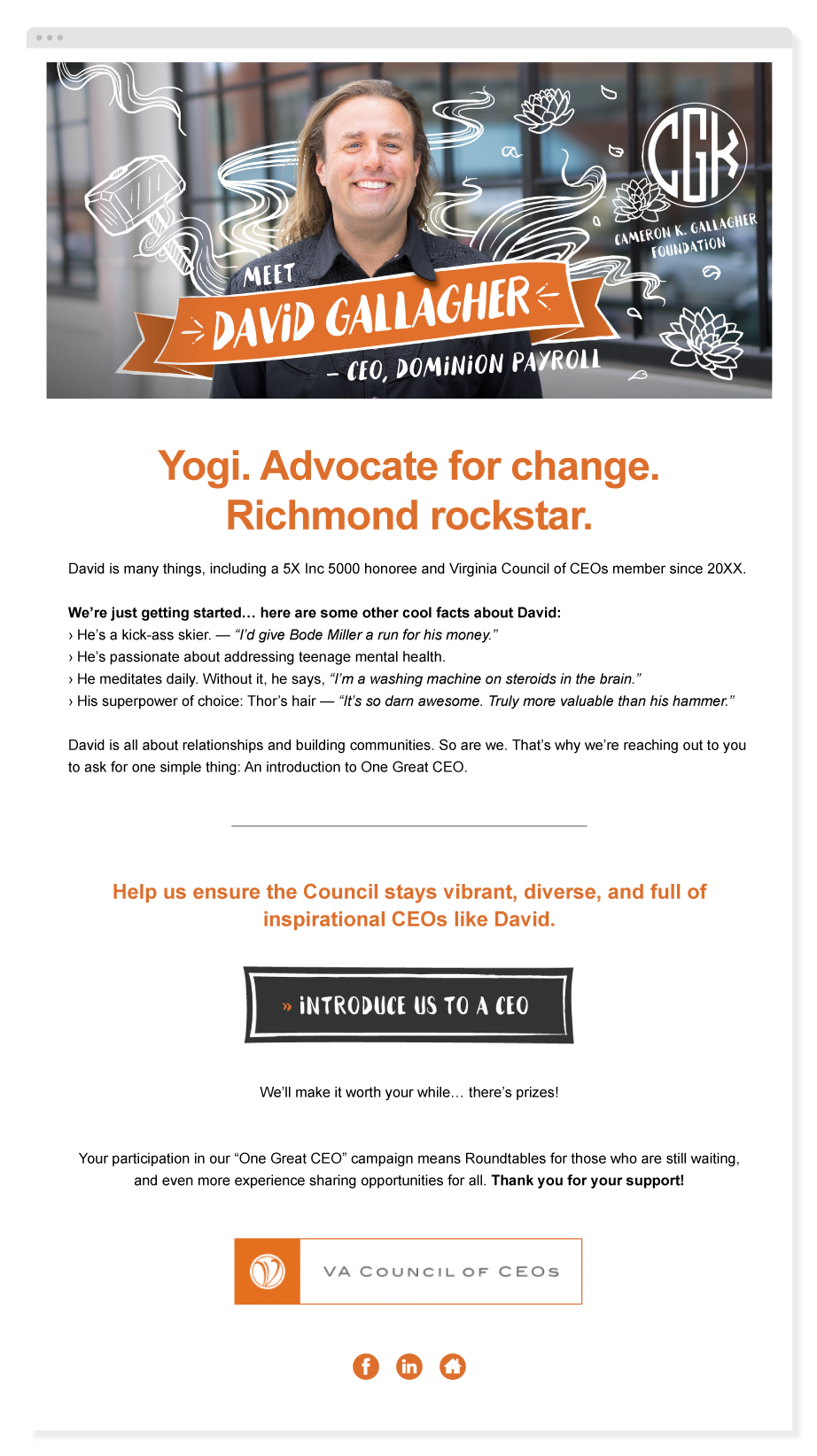 example email from Virginia Council of CEOs' One Great CEO email campaign