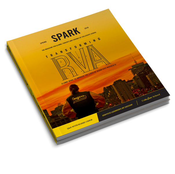 SPARK magazine with a picture of a yellow and orange sunset on the cover