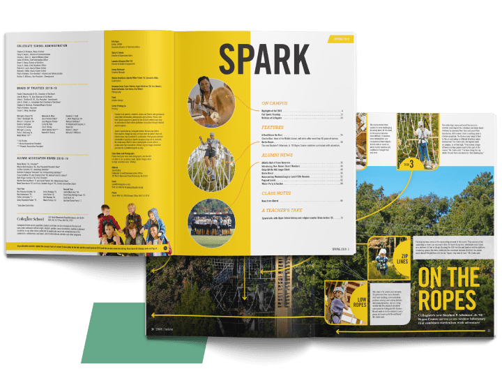 two magazine spreads for Collegiate School's SPARK magazine