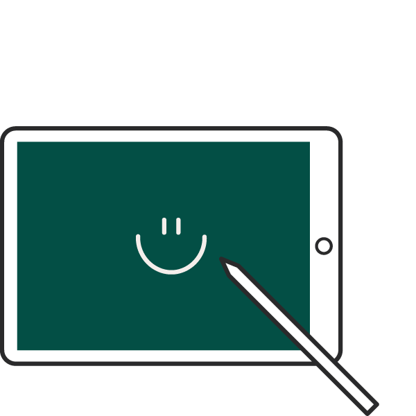 icon of a smiley face on an ipad