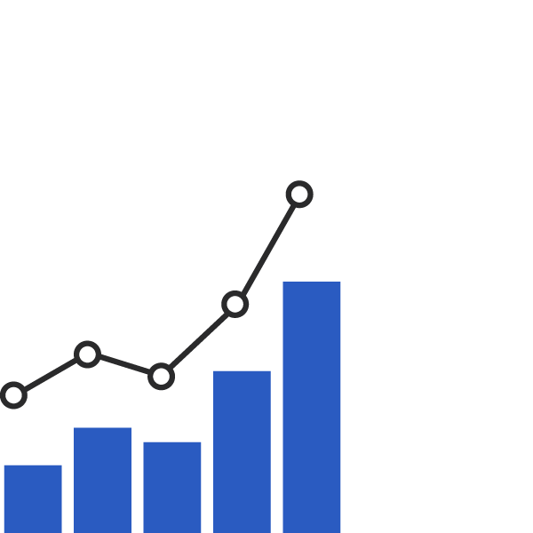 icon of analytics on a bar chart