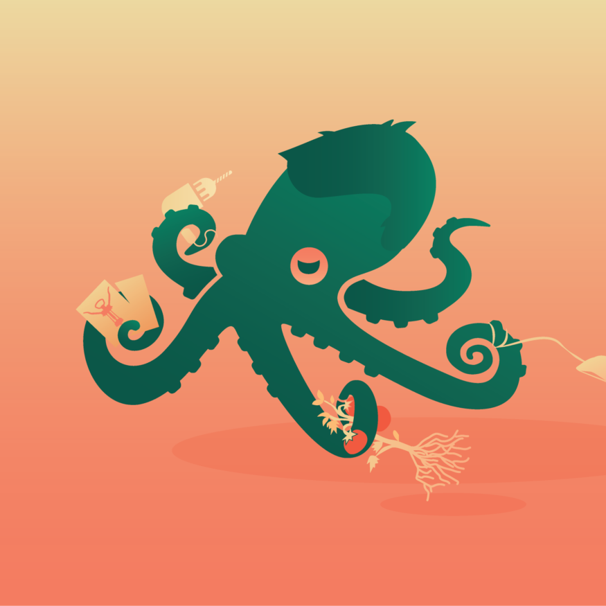 Octopus holding a mouse, plant, drill, and greeting cards