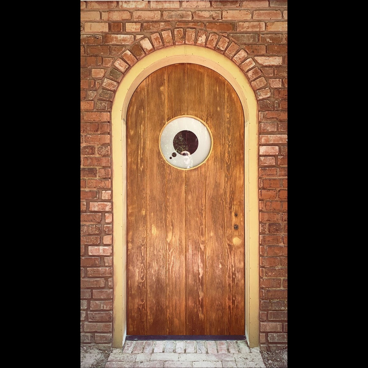 Custom rounded wood door with frosted circular window